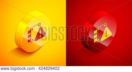Isometric House Under Protection Icon Isolated On Orange And Red Background. Home And Lock. Protecti