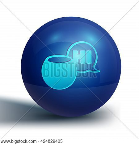 Blue Voice Assistant Icon Isolated On White Background. Voice Control User Interface Smart Speaker.