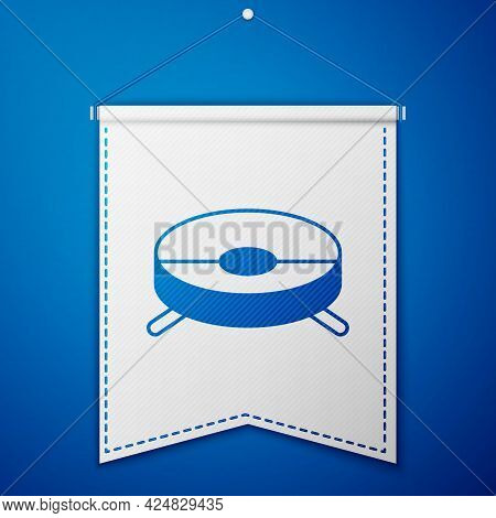 Blue Robot Vacuum Cleaner Icon Isolated On Blue Background. Home Smart Appliance For Automatic Vacuu