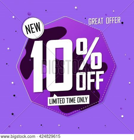 Sale 10% Off, Discount Banner Design Template, Promo Tag