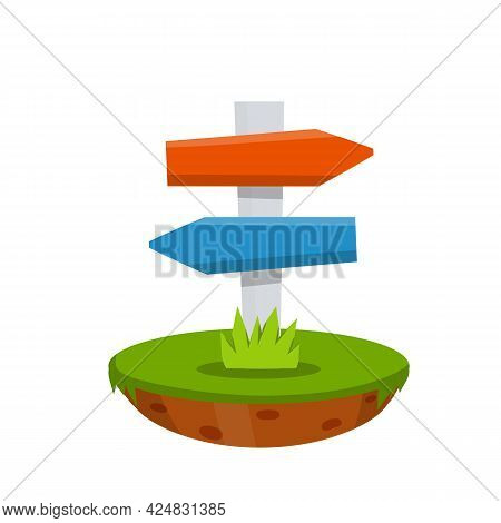Path Pointer With Blue And Red Plate. Direction Way. Green Grass. Route Information Index. Cartoon F