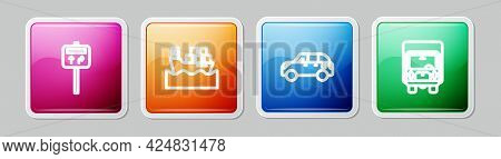 Set Line Road Traffic Signpost, Cargo Ship With Boxes, Hatchback Car And Delivery Cargo Truck. Color