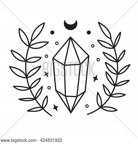 Celestial Symbols, Crystal Sketch. Hand Drawn Line Art Crystals, Botany Leaf, Moon, Stars.