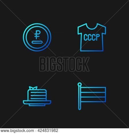 Set Line National Russia Flag, Medovik, Rouble, Ruble Currency And Ussr T-shirt. Gradient Color Icon