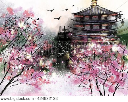 Chinese Traditional Painting With Pagoda Surronded By Blossoming Cherry Trees.