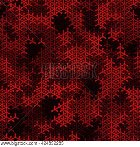 Seamless Geometric Ruby Triangles On Black Background Vector Pattern