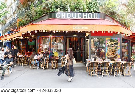 Paris, France-june 21 , 2021 : Cafe Chouchou Is Traditional French Cafe Located In Les Halles Distri