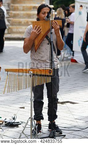 Paris, France - June 21, 2021 : Street Musician Entertain Tourists In Les Halles Quarter In Paris.