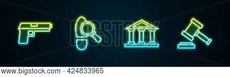 Set Line Pistol Or Gun, Footsteps, Courthouse Building And Judge Gavel. Glowing Neon Icon. Vector