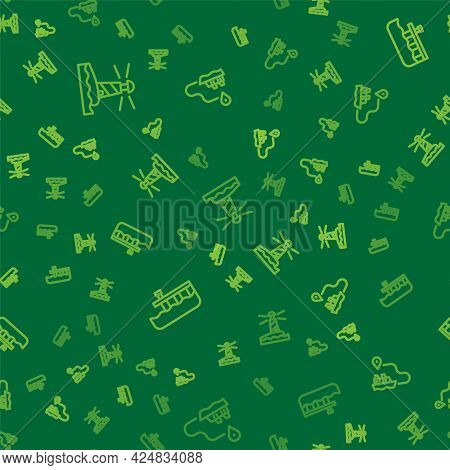Set Line Lighthouse, Beach Pier Dock And Ship Line Path On Seamless Pattern. Vector
