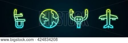 Set Line Airplane Seat, Worldwide, Aircraft Steering Helm And Plane. Glowing Neon Icon. Vector