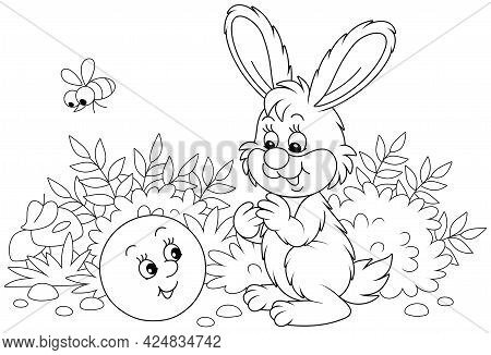Freshly Backed Happy Round Loaf Friendly Smiling And Talking To A Small Hare On A Forest Glade From