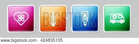 Set Line Healed Broken Heart, Syringe, Digital Thermometer And Emergency Car. Colorful Square Button