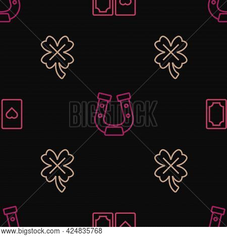 Set Line Deck Of Playing Cards, Casino Slot Machine With Clover And Horseshoe On Seamless Pattern. V