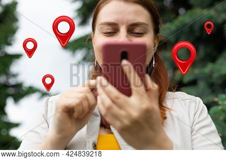 Traveler Hands Use Map On Mobile Phone App To Search For Route Location Of Place With Gps On Street