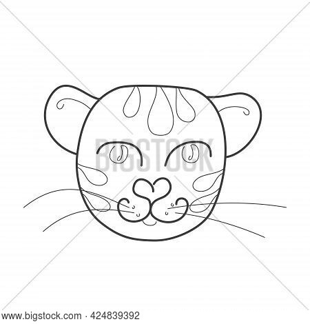 A Kind Tiger In Doodle Style, Isolated On A White Background. Vector Illustration For Coloring Book,