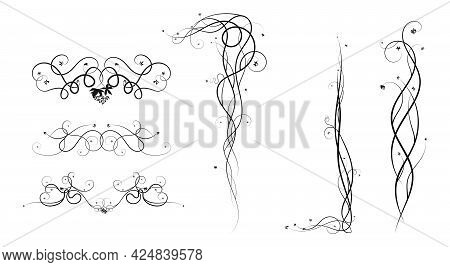 Grapes Elements For Ornament Weaving Plants. Sketch Doodle Style Image