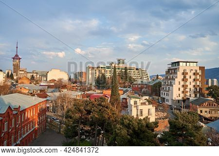 City Landscape, Architecture Of Tbilisi. The Capital Of Georgia. Big City In The Highlands. Tbilisi,