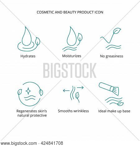 Beauty Product, Cream, Mask Cosmetic And Beauty Tretment Icon Set For Web, Packaging Design. Vector