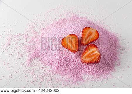 Pink Dried Strawberries Powder With Fresh Raw Berries On White Background. Textured Fruit Starch,  J
