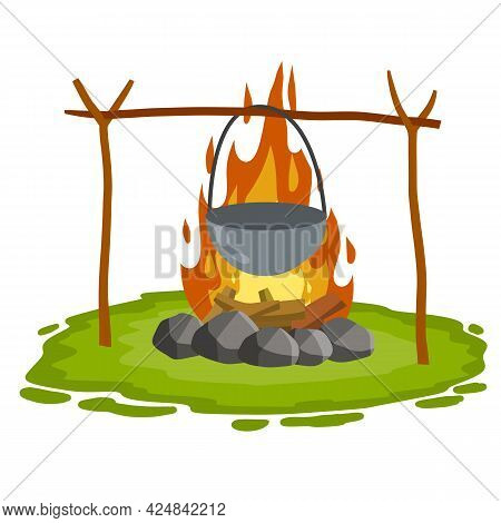 Cooking On Fire In Pot. Cauldron And Campfire. Hot Red And Orange Flames. Outdoor Grass, Branch And