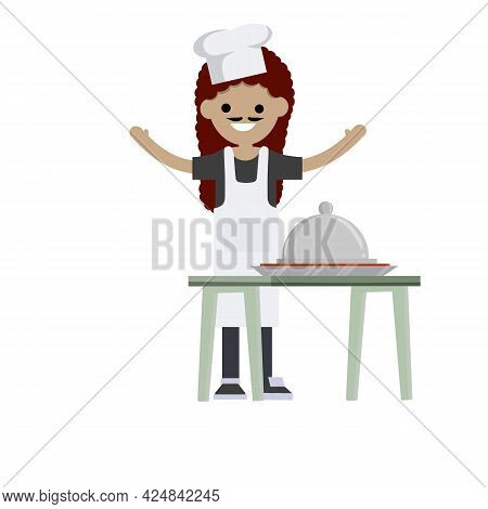Woman In White Apron Prepares Food. Table With Plate And Tasty. Element Of Cafe And Restaurant. Hous