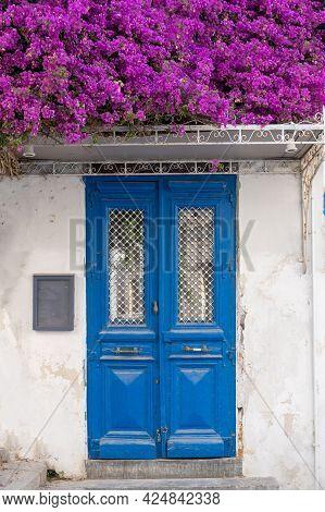 Bougainvillea Blooming At Ermoupolis Syros Island, Cyclades, Greece.