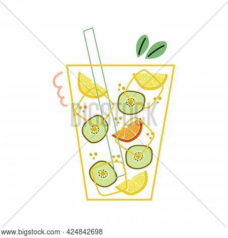 Glass With Ice, Kiwi Slice And Lemon, Orange Slice. Cocktail, Lemonade.