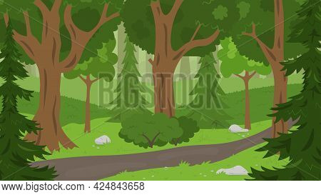 Summer Forest Background With Trees, Fir Trees And Bushes. Concept Vector Illustration. Perfect For
