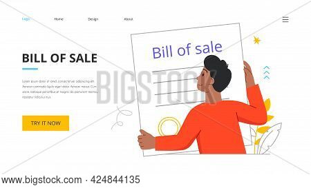 Bill Of Sale Concept With Tiny Young Male Character Holding Giant Signed Contract. Licensing Contrac