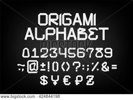 Designer Font In The Form Of Origami. Vector Font. Part 2