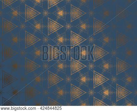 Geometric Abstract Dark Blue Metallic Gold Sheen Textured Kaleidoscopic Hexagonal Pattern. Symmetric