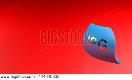 Jpg Blue Icon On Shiny Red Background - 3d Rendering Illustration