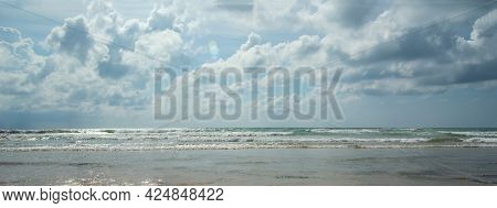 Cloudy Sky. Panorama Of A Beautiful Cloudy Sky Over The Sea Or Ocean. Sky Clouds Ocean And Sea. Beau