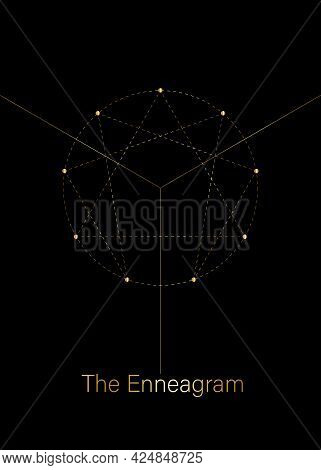Enneagram Icon, Golden Luxury Sacred Geometry, Diagram Logo Template, One To Nine Concerning The Nin