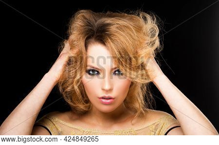 Sensual Woman With Fashion Makeup. Visage, Beauty Salon, Cosmetics. Smokey Eyes Make Up.