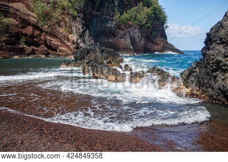 Ocean Waves Crashing On The Rocky Island Coast. Splashing Ocean Waves And Stones.