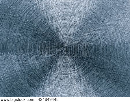 Metal Background With Round Circular Texture . Stainless Steel Texture Close Up