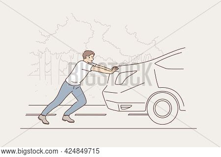 Car Breakdown And Service Concept. Tired Young Man Cartoon Character Pushing Broken Damaged Car Vehi