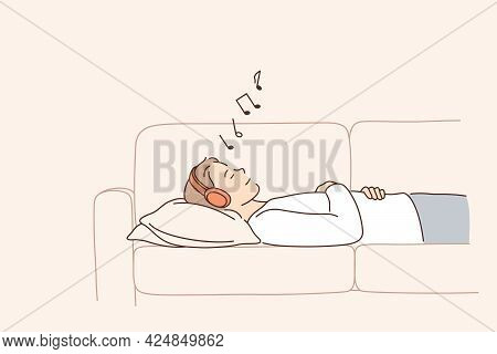 Relaxation And Listening To Music Concept. Young Positive Woman Cartoon Character In Headphones Lyin