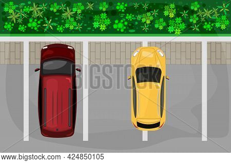 Bad Parking. Parking Lot With Bad Parked Car. Right And Wrong Parking Examples. Cars Top View. City