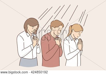 Business Hope And Pray Concept. Group Of Positive Calm Business People Cartoon Characters Standing W