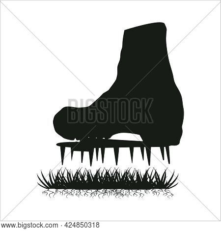 Aerator Shoes With Metal Spikes Isolated On White Background.lawn Aerator Shoes Silhouette. Lawn Spi