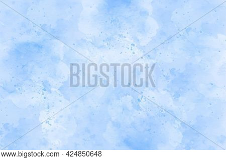Blue Watercolor Brush Paint Vector Stylized Striped Card For Web, Print. Aquarelle Abstract Hand Dra
