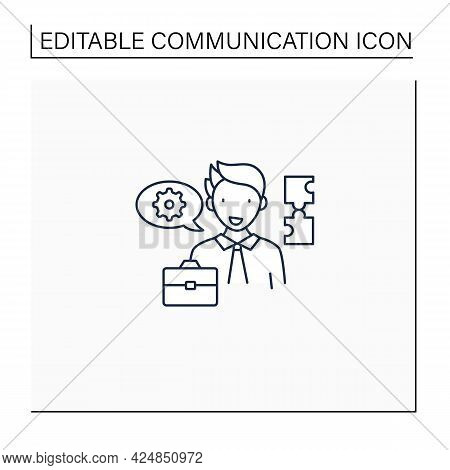Ineffective Communication Line Icon. Using Technical Language. Professional Vocabulary. Communicatio