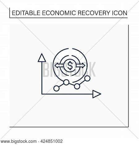 Economy Expansion Line Icon. Increase In Economic Level Activity.economical Fluctuation. Business Co