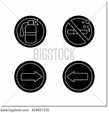 Public Place Signs Glyph Icons Set.arrow Point In Left, Right. No Smoking, Fire Extinguisher.univers