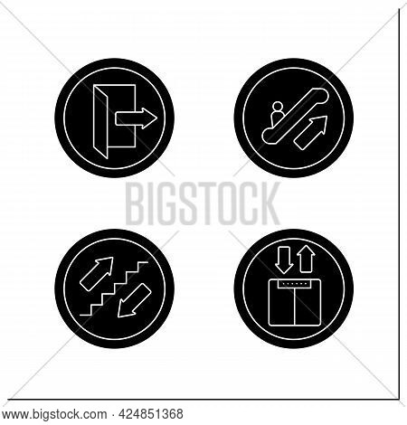 Public Place Signs Glyph Icons Set.exit, Elevator, Stairs, Escalator. Outdoor And Indoor Use. Univer