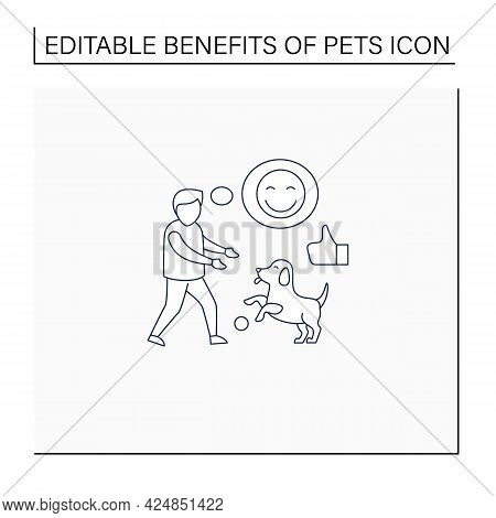 Pets Benefits Line Icon. Dog Play With Boy. Positive Emotions. Learn Responsibility, Compassion, Emp