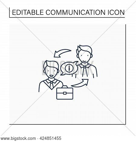 Exchanging Information Line Icon. Exchanging Networks, Thoughts, Knowledge With Other People. Effect